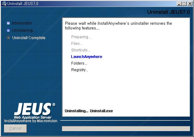 Chapter 6  Installing and Uninstalling JEUS on Windows