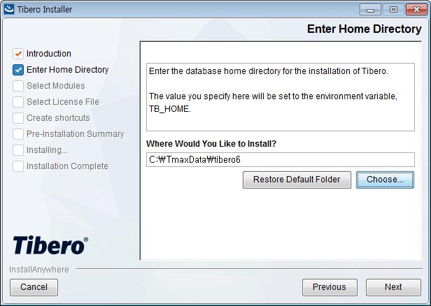 Tibero Installer - Enter Home Directory
