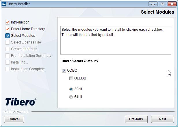 Tibero Installer - Select Modules