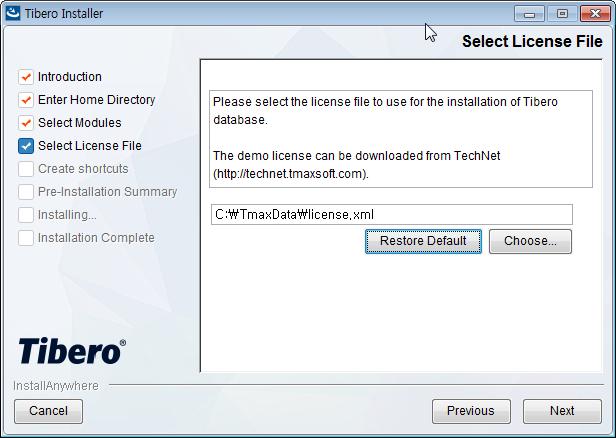 Tibero Installer - Select License File