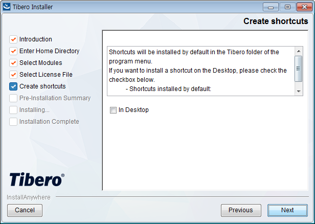 Tibero Installer - Create shortcuts