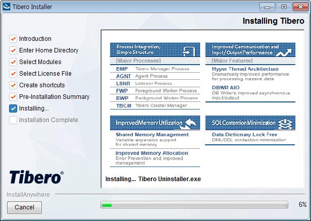 Tibero Installer - Installing progress