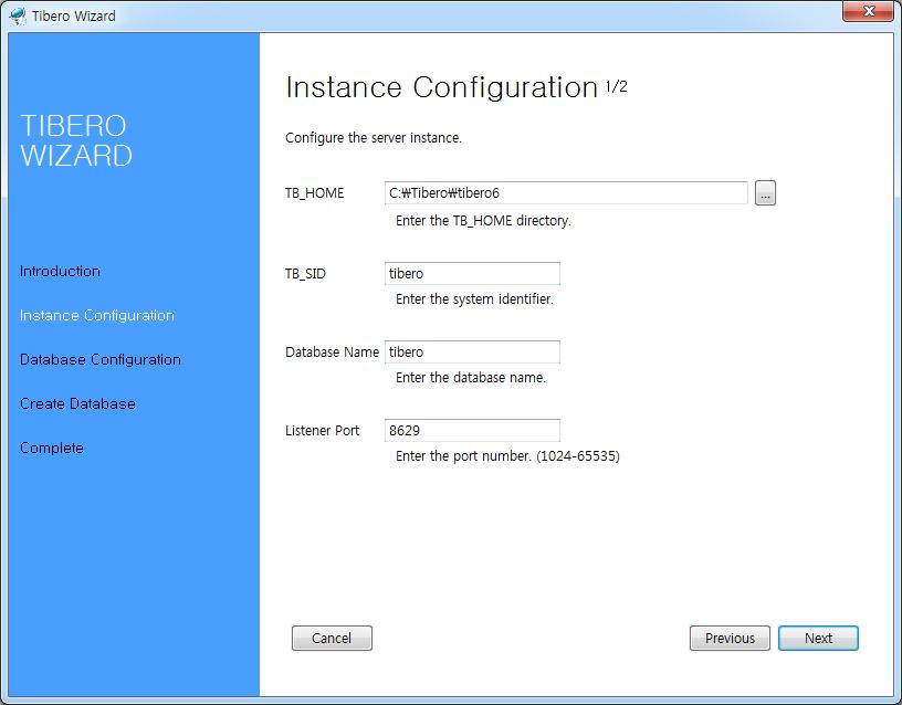 Tibero Installer - Database Identification