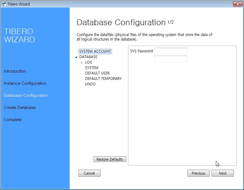 Tibero Installer - Account Configuration