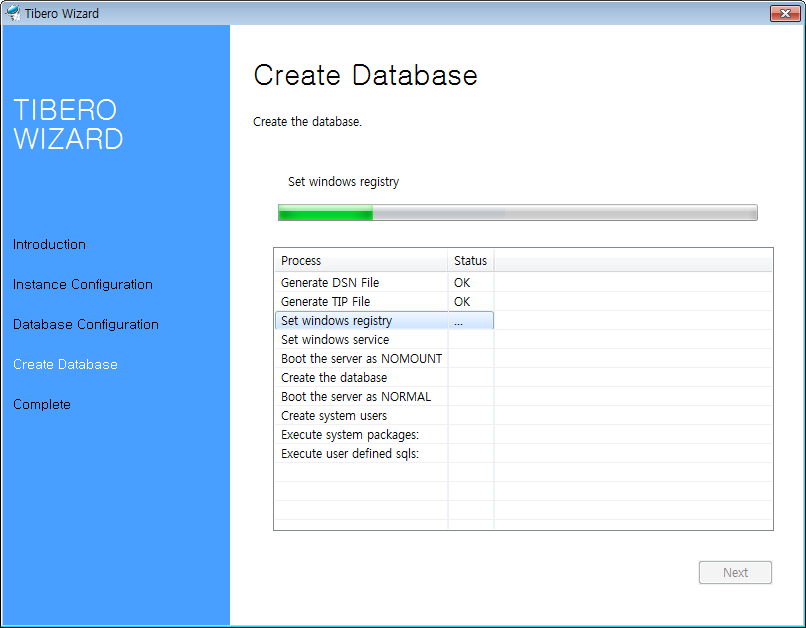 Tibero Installer - Creating a Database Instance